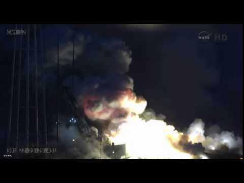 explosion - An Orbital Sciences' Antares ORB3 rocket exploded during a launch attempt at NASA's Wallop Flight Facility on Oct. 28th, 2014. The spacecraft was carrying 5000 lbs supplies, food and science...
