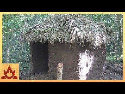 Primitive Technology: Palm Thatched Mud Hut