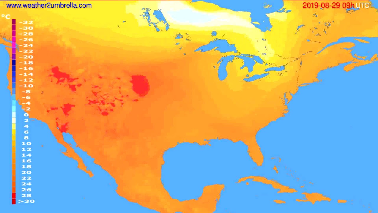 Temperature forecast USA & Canada // modelrun: 12h UTC 2019-08-27