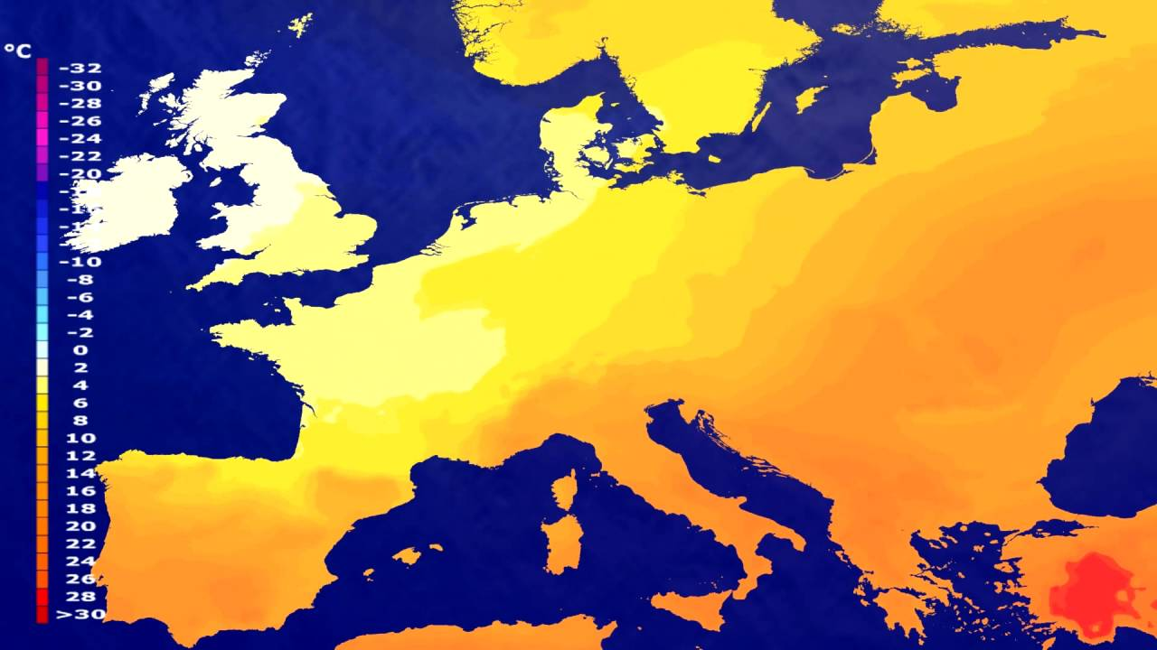 Temperature forecast Europe 2016-07-10