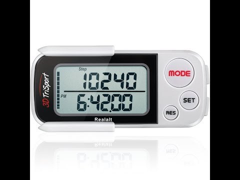 3DTriSport Walking 3D Pedometer with Clip and Strap, Accurate Step Counter
