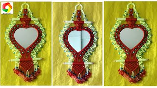How to make Macrame Mirror Wall Hanging| New Design #5| Wall piece using mirror| Macrame Mirror HD