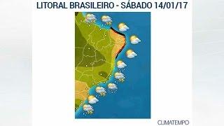 A meteologista Josélia Pegorim faz um panorama das condições do tempo em todo o litoral do Brasil para o fim de semana de 14 e 15 de janeiro de 2017.