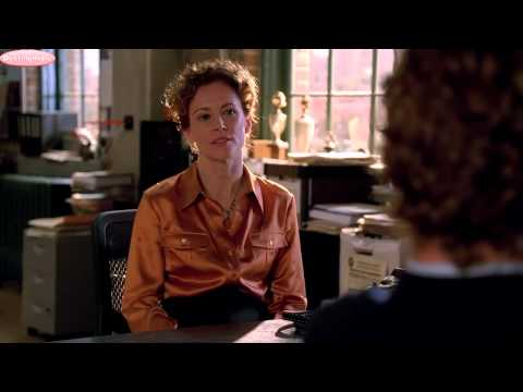 Leslie Hope: The Mentalist 1x07 Seeing Red (Orange Satin Blouse)