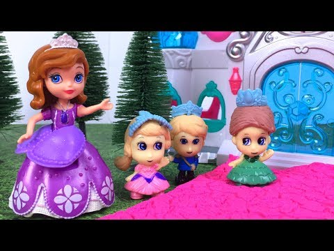 STORY WITH DISNEY PRINCESS SOFIA THE FIRST IN THE WOODEN HOUSE AND THE ROYAL FAMILY CASTLE PLAYSET