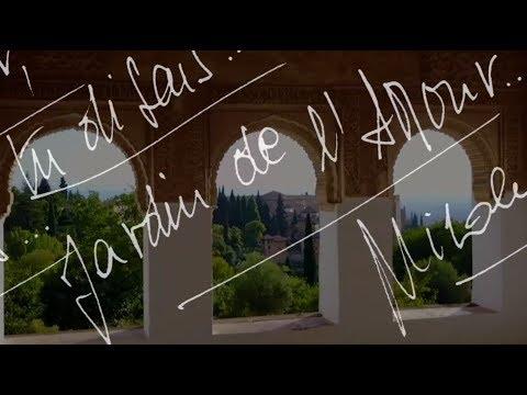 'Au jardin de l'Amour, tu disais... Tu disais, au jardin de l'Amour' : Poème calligramme de Nicole Coppey
