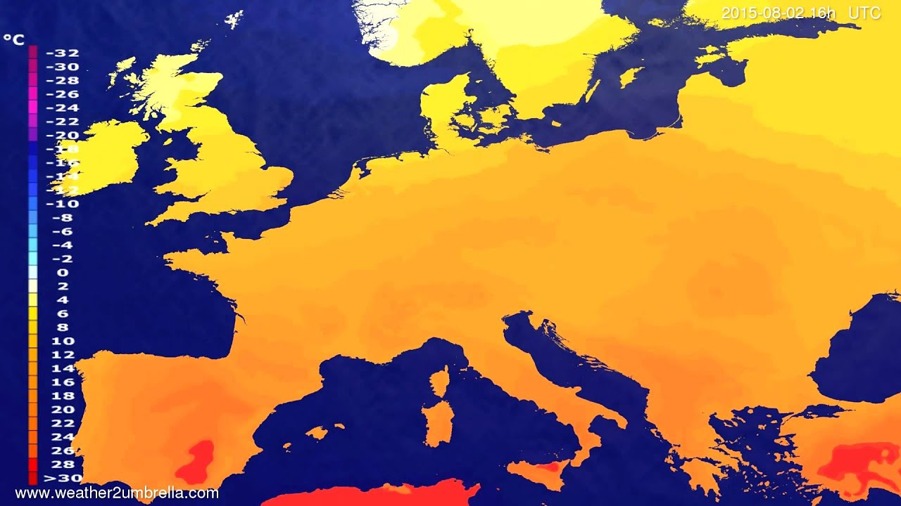 Temperature forecast Europe 2015-07-31