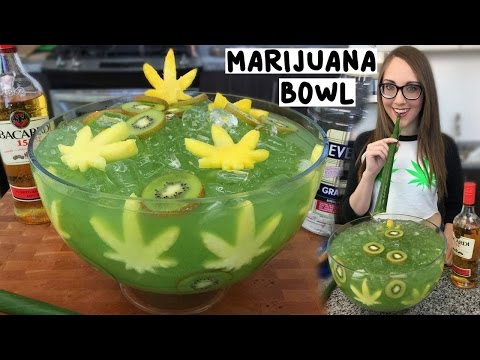 Marijuana Jungle Juice Bowl With Banana Leaf Straws - Tipsy Bartender