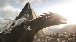 WARNING: Season 5 spoilers ahead. Daenerys Targaryen rides her dragon, Drogon, for the first time ever.