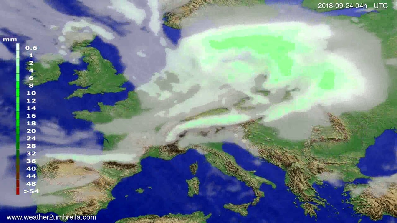 Precipitation forecast Europe 2018-09-20