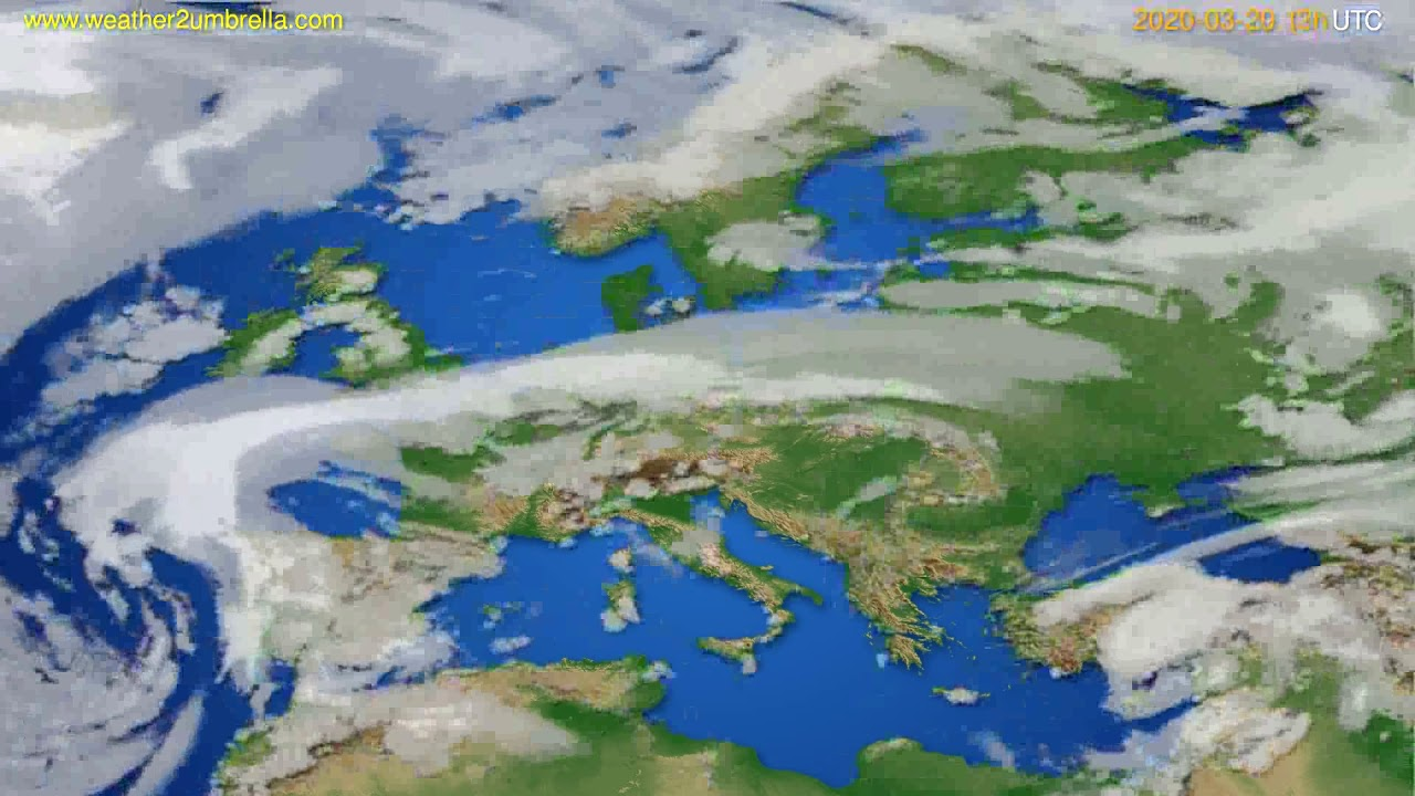 Cloud forecast Europe // modelrun: 12h UTC 2020-03-19