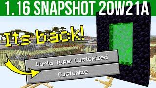 Minecraft 1.16 Snapshot 20w21a Custom Dimension & Custom World Generation Support!