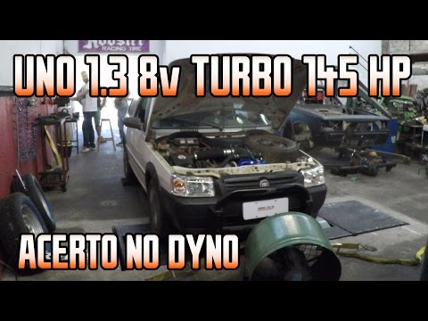 Fiat Uno Fire Furgão 1.3 8v Flex Turbo, acerto no dyno 145hp @ 0,6bar