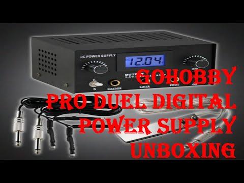 GoHobby Pro Digital Duel Tattoo Machine Power Supply Box Unboxing