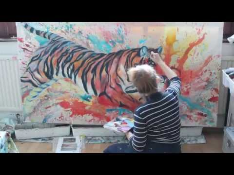 "Tiger Acrylbilder & abstrakte Malerei | abstract painting ""How to draw a tiger"" (Wien)"