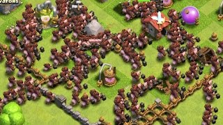 Clash of Clans - 300 Hog Rider Attacks! Max Level 5 Hogs! (Mass Gameplay)