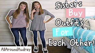 Hey guys! In today's video my sister JustJordan33 and I will be shopping at the mall and buying outfits for each other! We vlogged us picking out the outfits and then came home and presented them to each other and finally tried them on! This was super fun to do and we would like to know if you guys want this to be a series so be sure to let us know in the comments below!Check out the video where my brothers picked out outfits for me: https://www.youtube.com/watch?v=ZIgQumO6Owc__Subscribe for videos every Thursday!☆http://www.youtube.com/channel/UCS0kA-D1M87dDfkWRl_DLJA?sub_confirmation=1Comment down below whose outfit you like better!♡Like this video if you enjoyed!Here are some more videos I think you might like:Operation Slime Challenge: https://www.youtube.com/watch?v=FycQVuqxORwCoke and Mentos Challenge: https://www.youtube.com/watch?v=ZZD0C2Fu-vsLip Retractor Challenge: https://www.youtube.com/watch?v=IXKf89bTx_EFast Food Fondue Challenge: https://www.youtube.com/watch?v=oUgfiExrN4URainbow Ice Bath Challenge: https://www.youtube.com/watch?v=sM8tujZbsLUNever Have I Ever: https://www.youtube.com/watch?v=n340lu1BIpYTwisted Twister:  https://www.youtube.com/watch?v=XzR_twNyxSEHungry Hungry Hippos Game Twist: https://www.youtube.com/watch?v=Z0kuKpzfh0YFamily Lip Retractor Challenge: https://www.youtube.com/watch?v=y_ridJVmS8EYou can send fanmail! AllAroundAudreyP.O. Box 6792N. Logan, Utah 84341__Follow Me On:Instagram- https://instagram.com/allaroundaudrey/Twitter- https://twitter.com/AllAroundAudreyFacebook- https://www.facebook.com/AllAroundAudrey?ref=profilePinterest- https://www.pinterest.com/allaroundaudrey/Musical.ly- AllAroundAudreyYouNow: AllAroundAudrey__♡ My Sister's Channel: https://www.youtube.com/channel/UCHOMvu3axPhTG5zLqrHynig♡ My Brothers' Channel: https://www.youtube.com/channel/UCCHmMn-aFceiyb81Z-fu-zw♡ Our Family Channel: https://www.youtube.com/channel/UCbZgDzTkBQMkPWYBFESJ3sQ♡ Check Out My Previous Video: https://www.youtube.com/watch?v=oB8ElCFMvhI♡ For Business Inquiries: AllAroundAudrey99@gmail.com__Music Credits:Cumbia No Frills Faster by Kevin MacLeod is licensed under a Creative Commons Attribution license (https://creativecommons.org/licenses/by/4.0/)Source: http://incompetech.com/music/royalty-free/index.html?isrc=USUAN1100275Artist: http://incompetech.com/Cut and Run - Electronic Hard by Kevin MacLeod is licensed under a Creative Commons Attribution license (https://creativecommons.org/licenses/by/4.0/)Source: http://incompetech.com/music/royalty-free/index.html?isrc=USUAN1100851Artist: http://incompetech.com/Disco Ultralounge by Kevin MacLeod is licensed under a Creative Commons Attribution license (https://creativecommons.org/licenses/by/4.0/)Source: http://incompetech.com/music/royalty-free/index.html?isrc=USUAN1100602Artist: http://incompetech.com/EDM Detection Mode by Kevin MacLeod is licensed under a Creative Commons Attribution license (https://creativecommons.org/licenses/by/4.0/)Source: http://incompetech.com/music/royalty-free/index.html?isrc=USUAN1500026Artist: http://incompetech.com/__Thanks for Watching!XOXO,Audrey