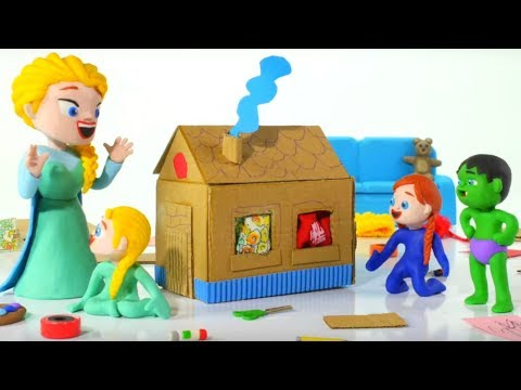 KIDS BUILDING A CARDBOARD HOUSE ❤ PLAY DOH CARTOONS FOR KIDS