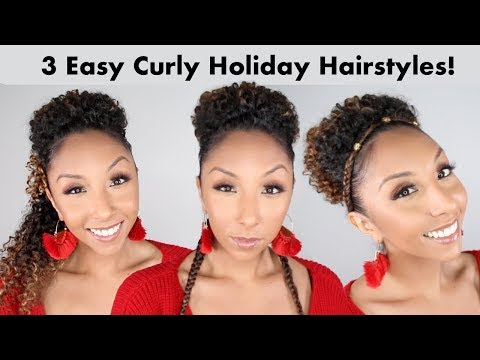 Easy hairstyles - 3 Cute & Easy Holiday Hairstyles For Curly Hair! SheaMoisture Product Tutorial  BiancaReneeToday