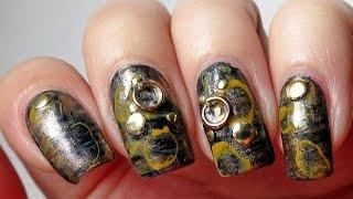 Steampunk nail art (BornPrettyStore.com nail art studs and round shape decorations) - YouTube