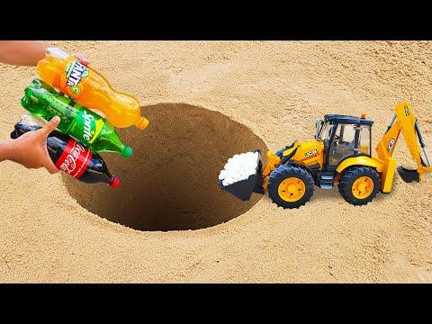 Fanta, Coca-Cola, Sprite VS Excavator JCB with Mentos