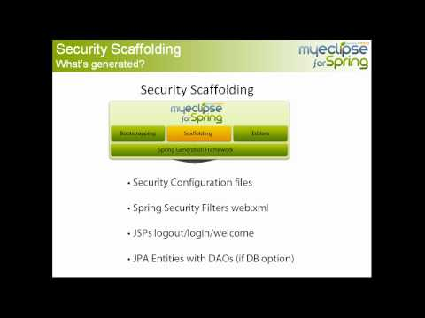 Spring Security 3.0 - http://www.myeclipseide.com/me4s - In this Spring tutorial, Dave Meurer walks through an overview of how to use the Scaffold Security feature in MyEclipse fo...