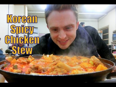 Eating Spicy Korean Braised Chicken Stew