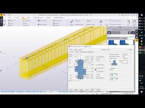 Tekla Structures - Bố trí cốt thép dầm bê tông giản đơn