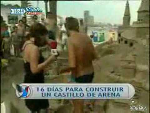 Reportera destroza castillo de arena