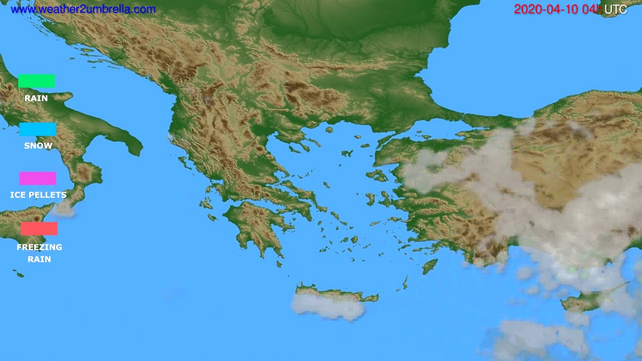 Precipitation forecast Greece // modelrun: 12h UTC 2020-04-09