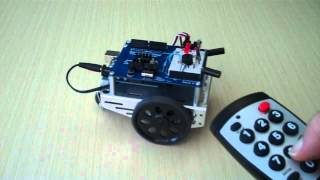 An Arduino-controlled BOE Shield-Bot receiving navigation commands from a Sony remote. Select 3 modes: autonomous roaming, object-following, or remote contro...