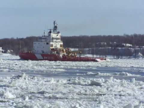 CCGS Terry Fox & Federal Yoshino. Terry Fox opening a track in ice near