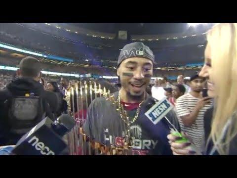 Video: Mookie Betts 2018 World Series On Field Celebration Interview