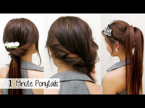 1 Minute Ponytails (TIMED) l Quick Cute & Easy School Hairstyles