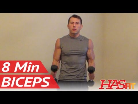 8 Minute Blasting Biceps Workout – Bicep Exercises with dumbbell – HASfit Biceps Work Out Training