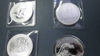 Cook Islands 1 oz Silver Bounty Coins (a 2017 and 2016 version) 2017 Fiji 1 oz Silver Great Wave BU Limited Mintages for Each ...
