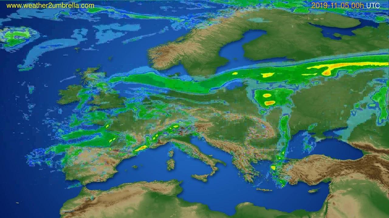 Radar forecast Europe // modelrun: 12h UTC 2019-11-04
