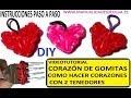 COMO HACER UN CORAZÓN DE GOMITAS CON DOS TENEDORES. VIDEO TUTORIAL DIY FIGURAS
