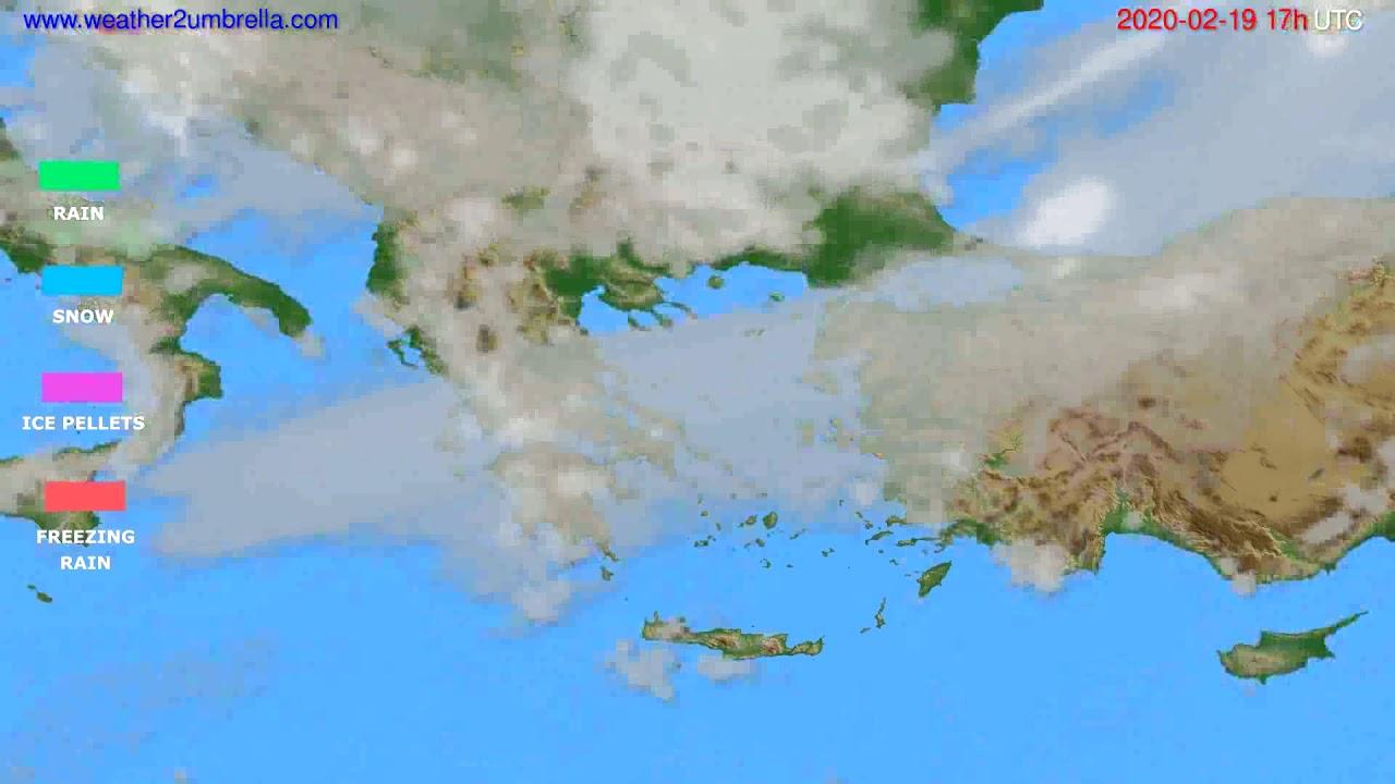 Precipitation forecast Greece // modelrun: 12h UTC 2020-02-18