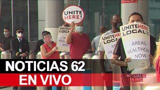 Ex trabajadores de LAX protestan por su difícil situación – Noticias 62 - Thumbnail