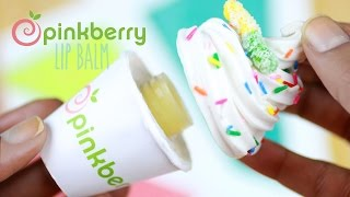 DIY Pinkberry Lip Gloss Jar - How To Make Beeswax Lip Balm Tutorial - Frozen Yogurt Polymer Clay - YouTube