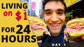Video LIVING on $1 for 24 HOURS in NYC! (Day #1) MP3, 3GP, MP4, WEBM, AVI, FLV Januari 2019
