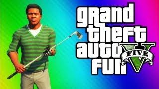 GTA 5 Funny Moments 2 - Epic Chicken, Golf Cart Chase, Muggers, Jimmy Retard Glitch (GTA 5 Gameplay)