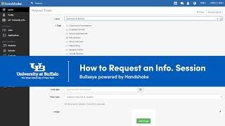Screenshot of creating an info session in bullseye powered by handshake.