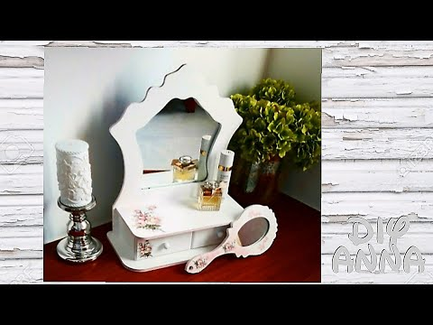 decoupage - specchio per make-up in stile shabby chic