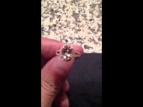 Morganite Halo Ring 14k Rose Gold Split Shank