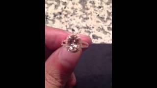 Morganite Halo Ring 14k Rose Gold Split Shank