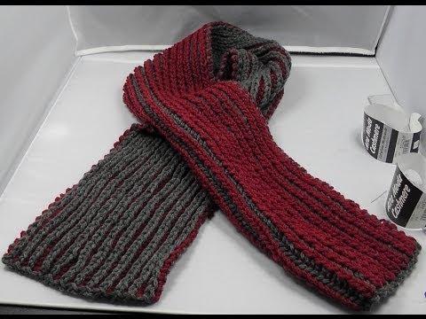 Stricken – Patentmuster Schal zweifarbig aus Alta Moda Cashmere von Lana Grossa