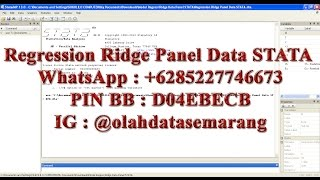 Regression Ridge Panel Data STATA is Ridgereg estimates Common-Effects (OLS) Panel Data STATA, xtregfem estimates Fixed-Effects Panel Data STATA, xtregrem estimates Random-Effects Panel Data STATA. WhatsApp : +6285227746673PIN BB : D04EBECBIG : @olahdatasemarang