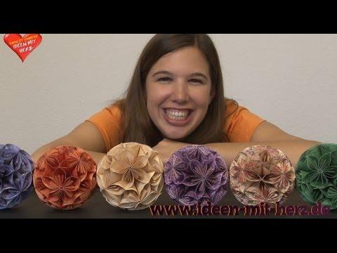 Ideen mit Herz - Blütenball - Kusudama mit rundem Faltpapier